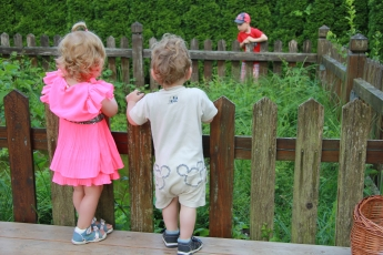 Abbildung: Ein kleines Mädchen und ein kleiner Junge schauen über einen Zaun in einen Teich